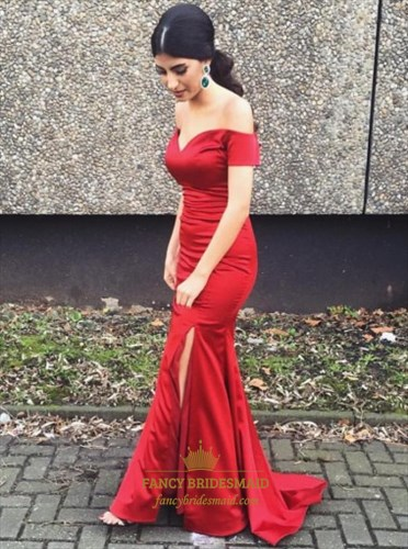 Burgundy Mermaid Off The Shoulder V-Neck Prom Dress With Side Split