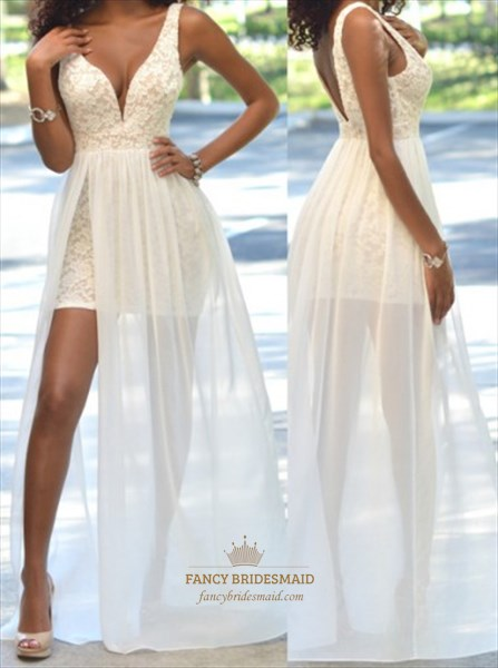 White Deep V Neck Sleeveless Short Lace Prom Gown With Chiffon Overlay