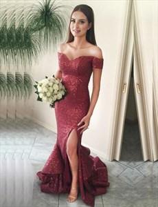 Burgundy Sequin Mermaid Off-The-Shoulder Prom Dress With Side Split