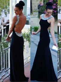 Elegant Black Open Back Sleeveless Mermaid Evening Dress With Beading