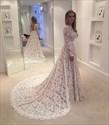 Elegant Illusion Lace Overlay Long Sleeve Wedding Dress With Train