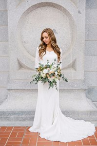 Elegant White 3/4 Length Sleeve V-Neck Floor Length Lace Wedding Dress