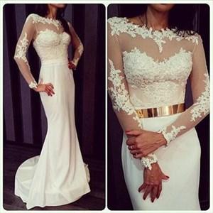 White Mermaid Long Sleeve Lace Chiffon Wedding Dress With Illusion Top