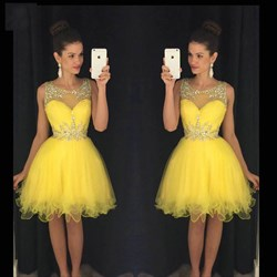 Yellow Sleeveless Knee Length A-Line Tulle Cocktail Dress With Beading
