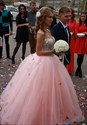 Pink Strapless Tulle A-Line Ball Gown Wedding Dress With Beaded Bodice