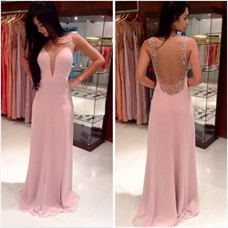 Elegant Pink Plunge V Neck Sleeveless Chiffon Prom Gown With Open Back