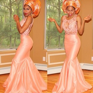 Pink Sleeveless Mermaid Long Evening Dress With Illusion Lace Bodice