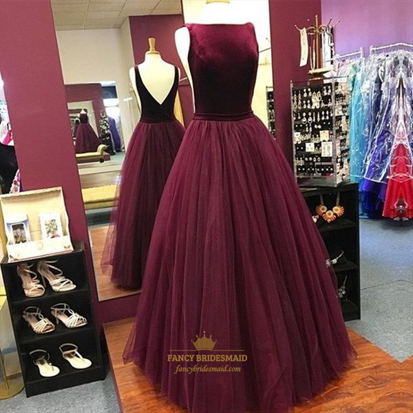 Elegant Burgundy Sleeveless V-Back A-Line Floor Length Tulle Prom Gown