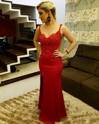 Burgundy Sleeveless Lace Beaded Embellished Evening Dress With Split