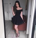 Elegant Off The Shoulder Lace Embellished A-Line Little Black Dress