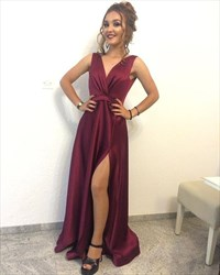 Simple Burgundy Sleeveless V-Neck A-Line Evening Dress With Side Split
