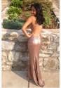 Simple Sheer Sleeveless Sequin Cut Out Waist Floor Length Prom Dress