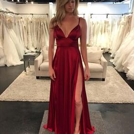 Burgundy Empire Waist Spaghetti Strap V-Neck A-Line Split Prom Gown