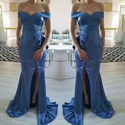 Blue Off The Shoulder Floor Length Side Split Prom Dress With Ruffles