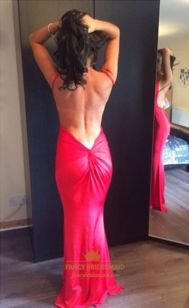 Hot Pink Backless Deep V-Neck Spaghetti Strap Chiffon Evening Dress