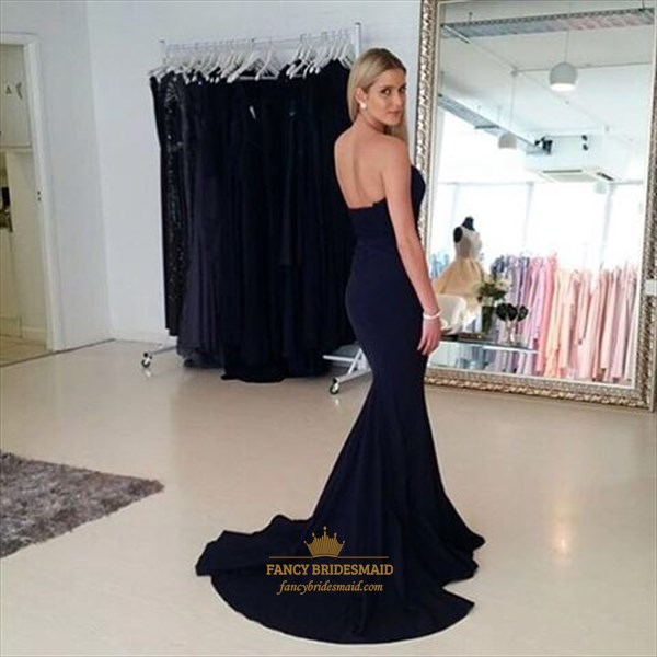 Simple Black Strapless Sweetheart Floor Length Mermaid Evening Dress