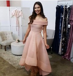 Lovely Light Pink Off The Shoulder A-Line High Low Evening Dress