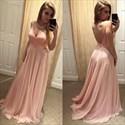 Light Pink A-Line V-Neck Spaghetti Strap Backless Chiffon Prom Dress