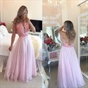 Pink Sleeveless Sheer Back A-Line Prom Dress With Lace Beaded Bodice