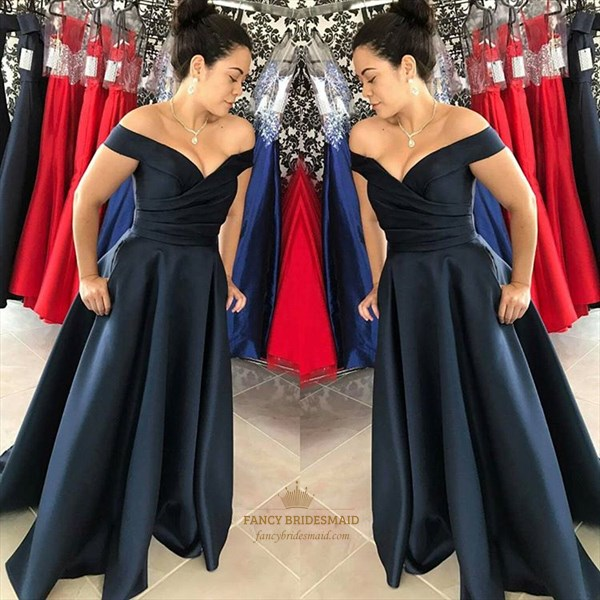 Navy Blue Off The Shoulder V-Neck A-Line Floor Length Evening Dress
