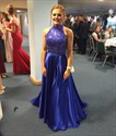 Royal Blue A-Line Two Piece Beaded Bodice Prom Dress With Keyhole Back