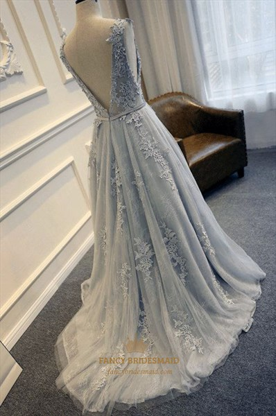 Grey Sleeveless Applique Embellished A-Line Floor Length Prom Dress