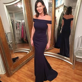 Elegant Navy Blue Off The Shoulder Mermaid Floor Length Evening Dress