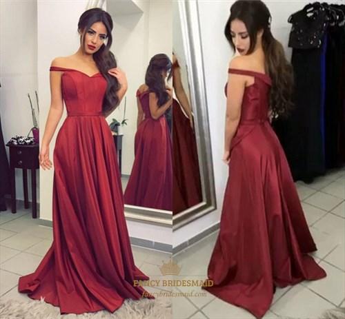 Burgundy Off The Shoulder V-Neck Floor Length Satin A-Line Prom Dress