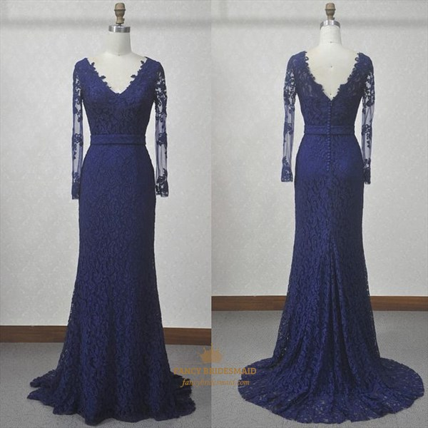 Illusion Long Sleeve V-Neck Lace Overlay Mermaid V Back Evening Dress