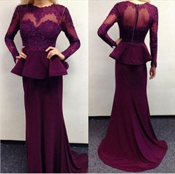 Grape Illusion Long Sleeve Peplum Lace Bodice Mermaid Evening Dress