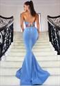 Blue Sleeveless Halter Two-Piece Mermaid Open Back Long Evening Dress