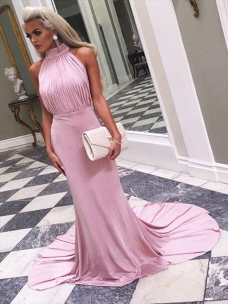 Pink Elegant High-Neck Sleeveless Ruched Bodice Mermaid Evening Dress