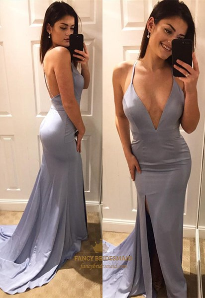 Spaghetti Strap Plunge V-Neck Mermaid Evening Dress With Front Split