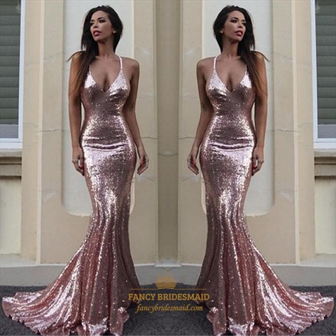 Pink Sequin Spaghetti Strap V-Neck Mermaid Floor Length Evening Dress