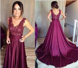 Elegant Fuchsia Sleeveless Lace Bodice A-Line Floor Length Ball Gown