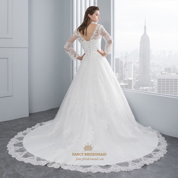 Illusion Long Sleeve Lace Embellished Tulle Ball Gown Wedding Dress