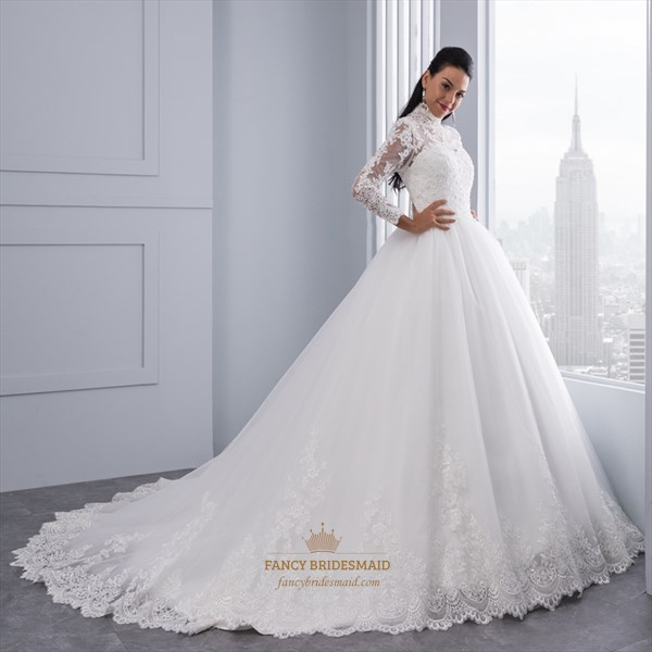 High-Neck Long Sleeve Lace Embellished A-Line Ball Gown Wedding Dress