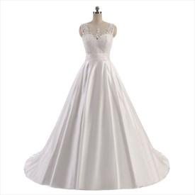 Sleeveless Illusion Neckline Floor Length A-Line Satin Wedding Dress