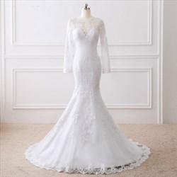 White Elegant Illusion Long Sleeve Mermaid Floor Length Wedding Dress