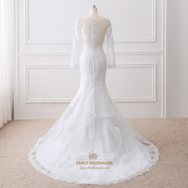 White Elegant Illusion Long Sleeve Mermaid Floor Length Wedding Dress