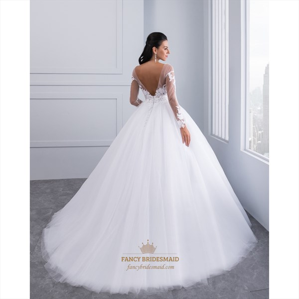 Open Back Long Sleeve Wedding Dress With Sheer Illusion Lace Bodice
