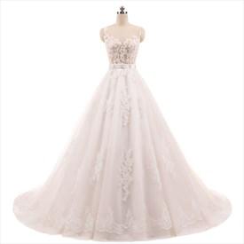 Sleeveless Illusion Bodice Lace Embellished Wedding Dress With Belt