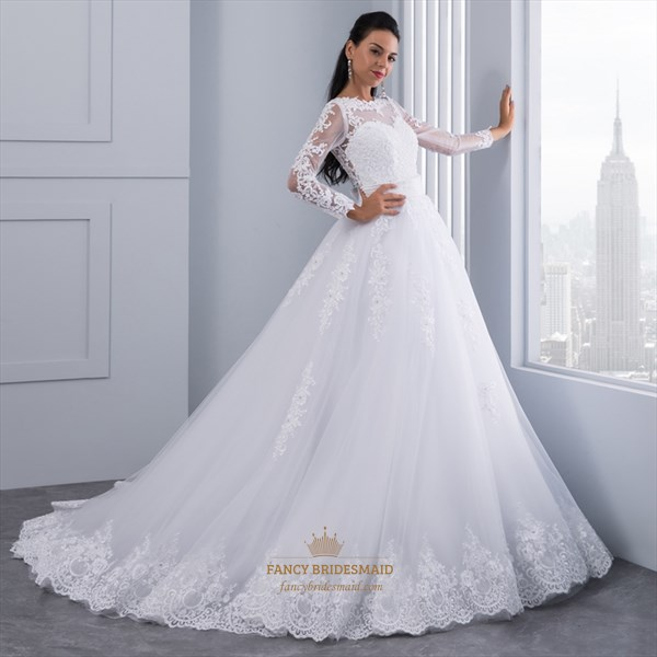 Illusion Long Sleeve Lace & Tulle A-Line Wedding Dress With Beading