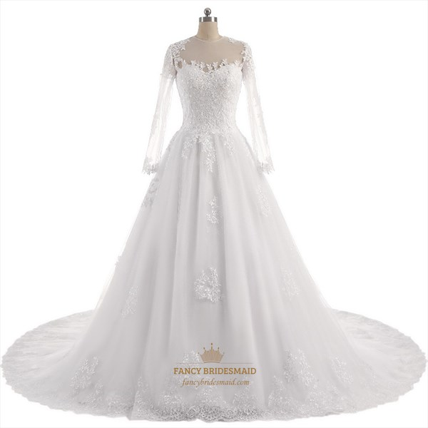 Sheer Long Sleeve Lace Embellished A-Line Wedding Dress With Train