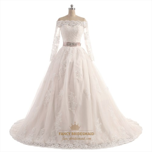 Off Shoulder Long Sleeve Floor Length A-Line Wedding Dress With Belt
