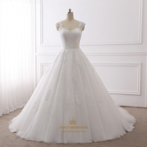White Cap Sleeve Sweetheart Neckline Wedding Dress With Illusion Back