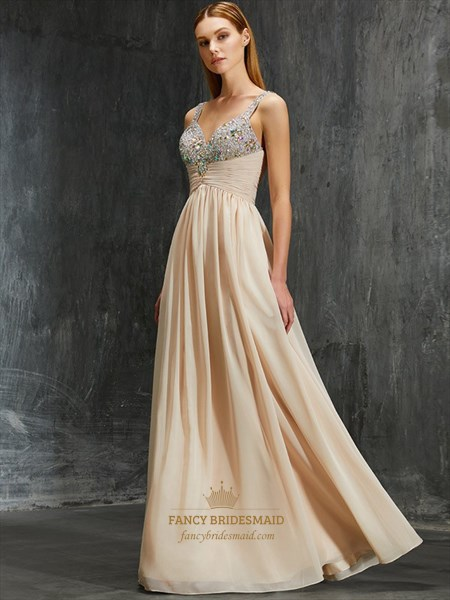Sleeveless Chiffon Ruched Empire Waist Evening Dress With Beaded Top
