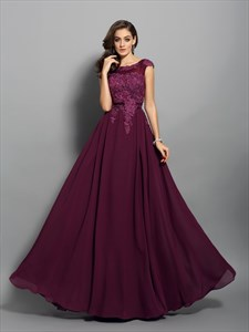 Grape Cap Sleeve Lace Chiffon V-Back A-Line Floor Length Evening Dress