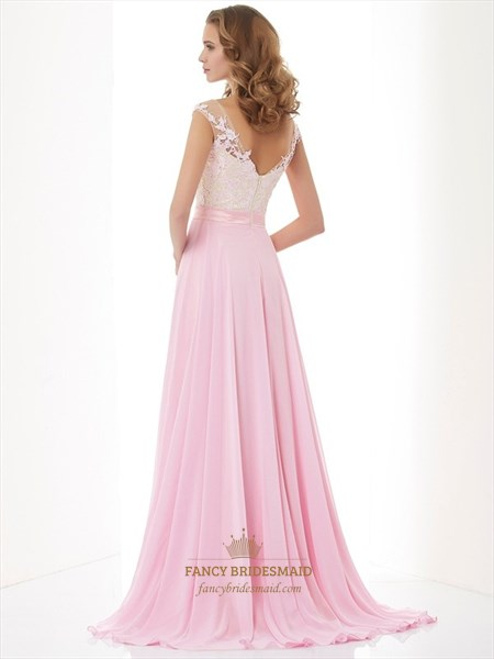 Light Pink Cap Sleeve Chiffon A Line Prom Dress With Sheer Neckline