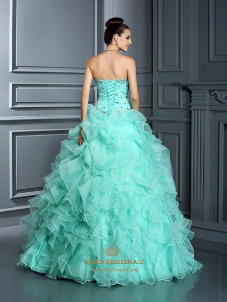 Turquoise Strapless Beaded Bodice Ruffled Skirt Ball Gown Prom Dress